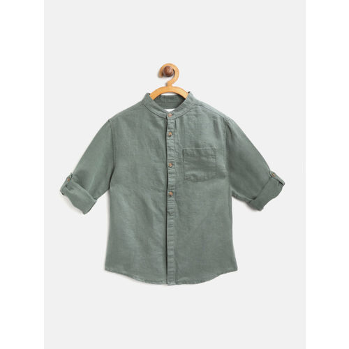 Marks & Spencer Boys Olive Green Solid Regular Fit Casual Shirt