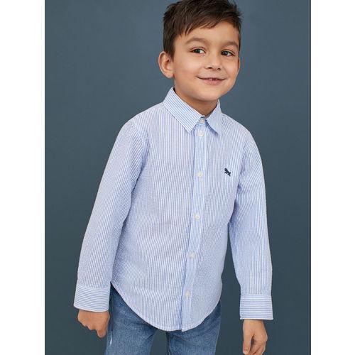 H&M Boys Blue & White Striped Cotton Shirt