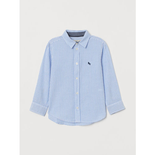 H&M Boys Blue & White Striped Cotton Shirt