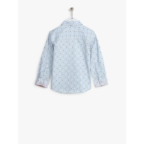 Allen Solly Junior Boys Blue & Grey Slim Fit Checked Casual Shirt