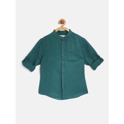 Marks & Spencer Boys Green Solid Regular Fit Casual Shirt