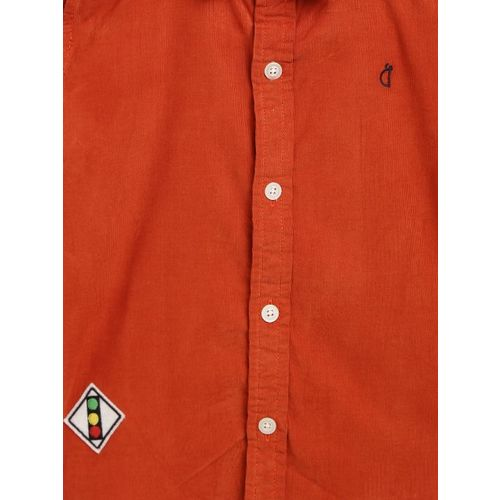 Gini and Jony Boys Rust Orange Corduroy Regular Fit Solid Casual Shirt