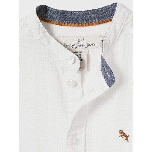 H&M Boys White Striped Seersucker Shirt