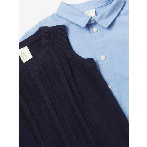 H&M Boys Blue Solid Shirt And Slipover
