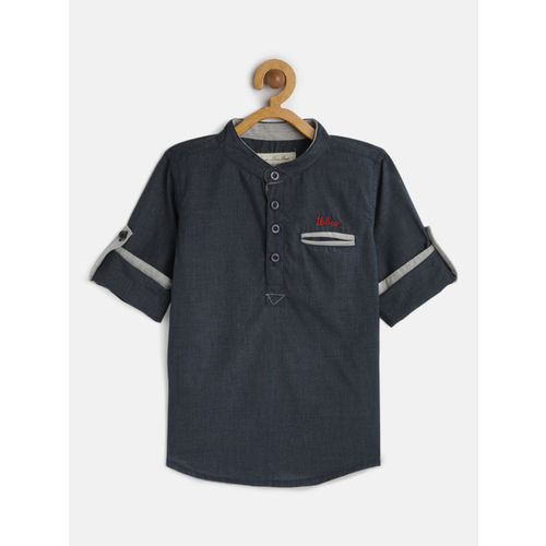 TONYBOY Boys Navy Blue Regular Fit Solid Casual Shirt