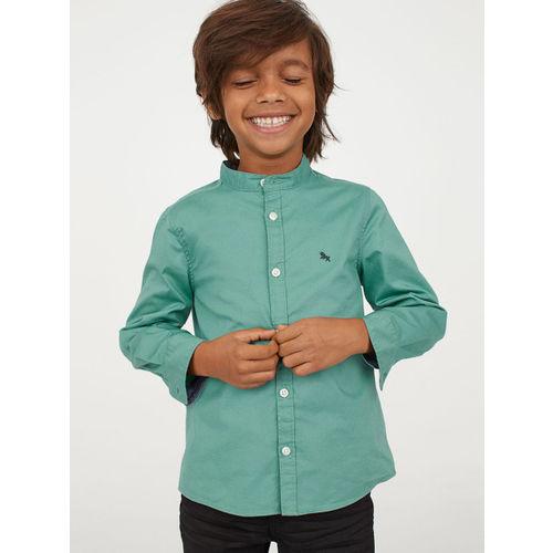 H&M Boys Green Solid Cotton Grandad Shirt