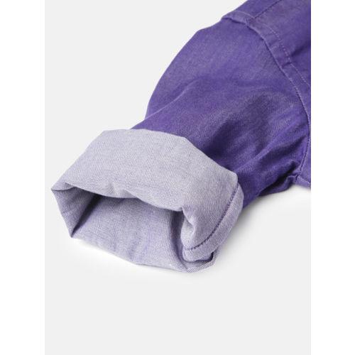 TONYBOY Boys Purple Regular Fit Solid Casual Shirt