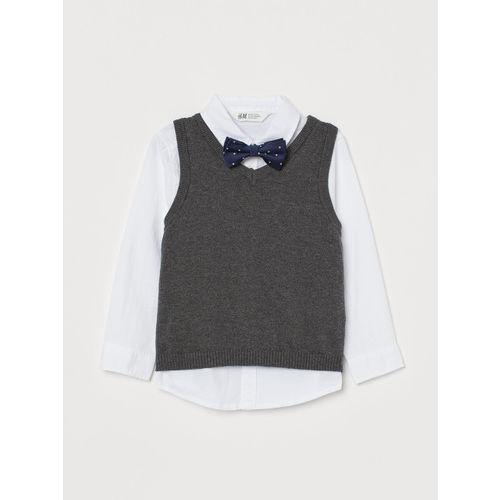 H&M Boys Black & White Solid Shirt And Slipover