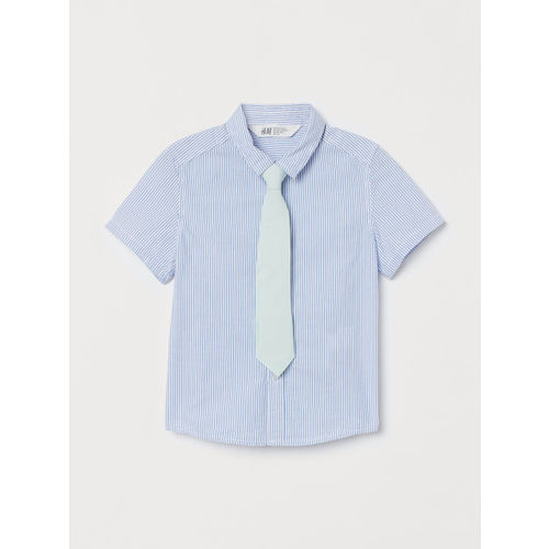 H&M Boys Blue Striped Shirt With A Tie or Bow Tie