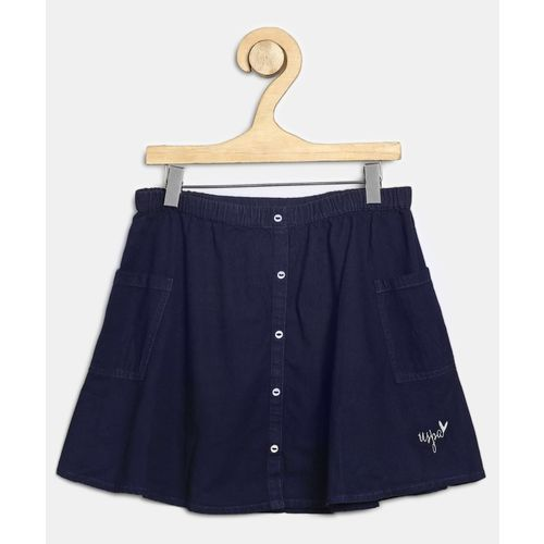 US Polo Kids Solid Girls A-line Dark Blue Skirt