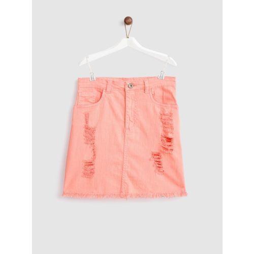 Yk Solid Girls A-line Pink Skirt