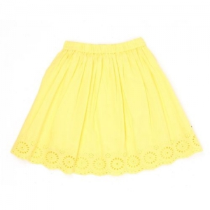 Pepe Jeans Solid Girls Gathered Yellow Skirt