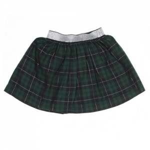 Pepe Jeans Checkered Girls A-line Green Skirt