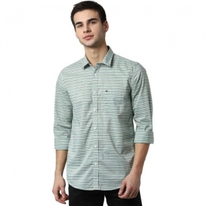 Peter England Men Striped Casual Green Shirt