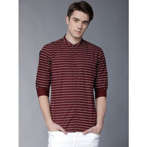 Highlander Red Cotton Striped Casual Shirt