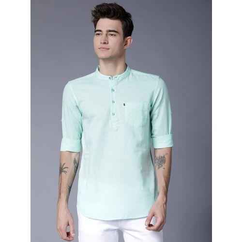 Highlander Men Solid Casual Light Green Shirt