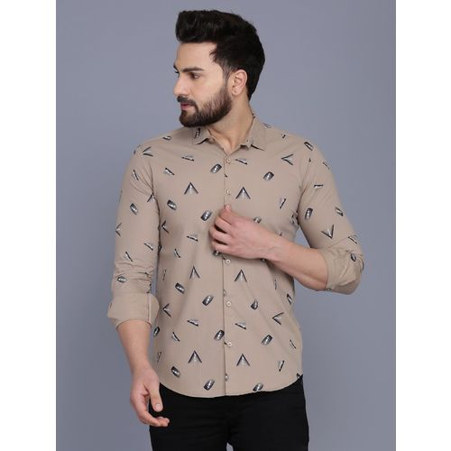 COBIO MAN Men Printed Casual Grey Shirt