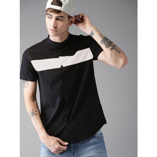 Tap in Men Color Block Casual Black Shirt
