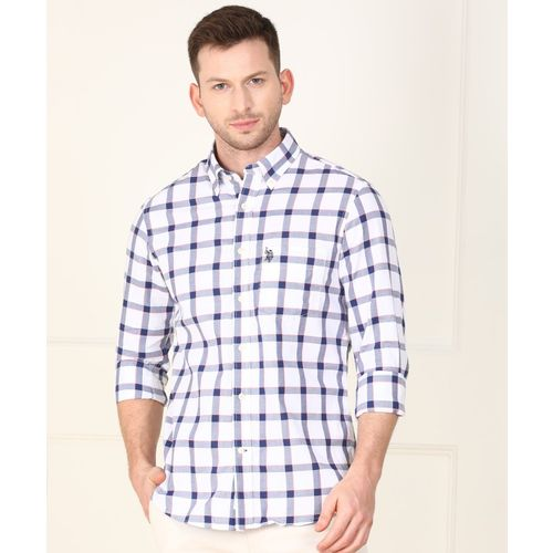 U.S. Polo Assn Men Checkered Casual White Shirt