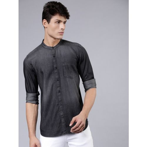 Highlander Men Solid Casual Black Shirt
