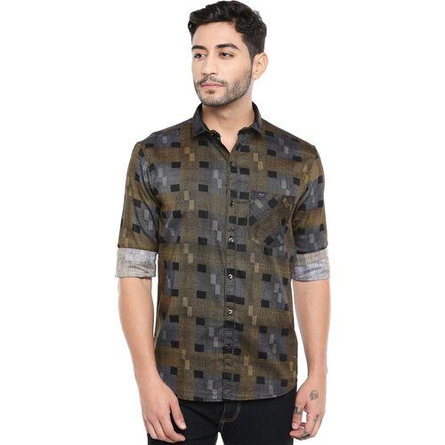Kevin Swift Men Geometric Print Casual Gold Shirt