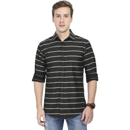 Asian & Fitch Men Striped Casual White, Black Shirt