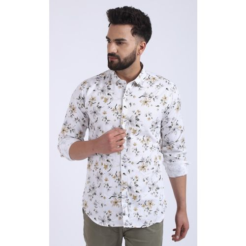 MR.KAMEEJ Men Floral Print Casual White Shirt