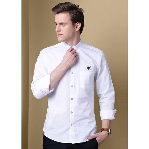 GHPC Men Solid Casual White Shirt