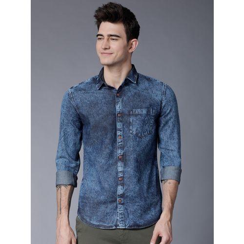 Highlander Men Solid Casual Dark Blue Shirt