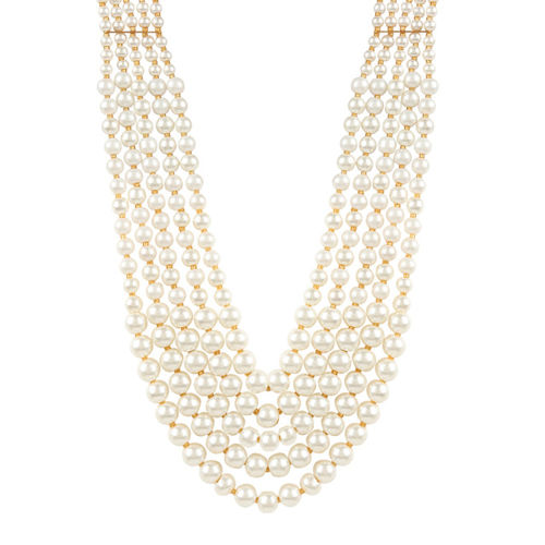 Adwitiya Collection White Gold-Plated Antique Pearl Layered Necklace