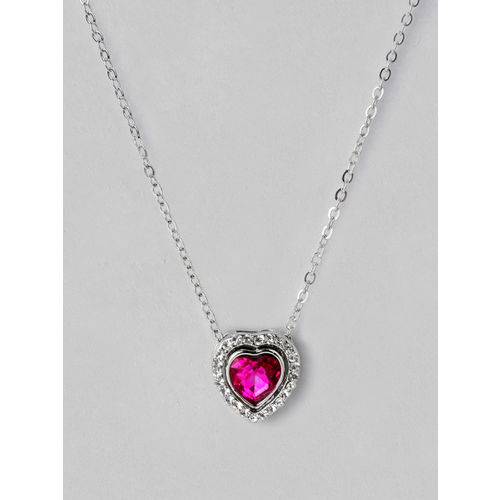 Rubans Women Pink Alloy Silver-Plated Handcrafted Chain Heart Pendant Chain