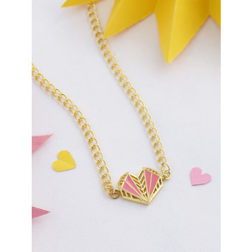 voylla Gold-Plated & Pink Handcrafted Necklace