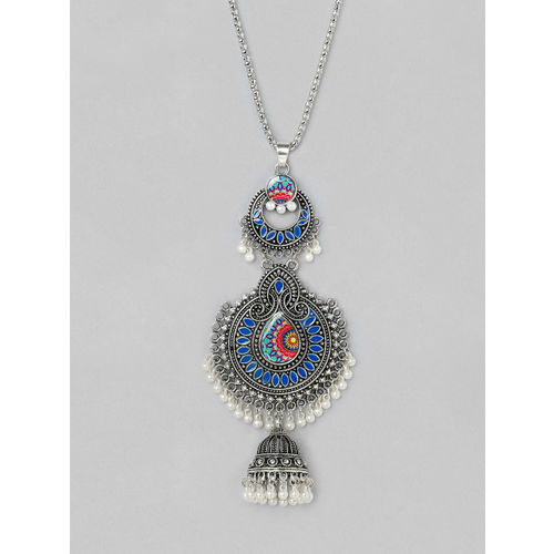 Rubans Blue Silver-Plated Oxidised Handcrafted Enamel Necklace
