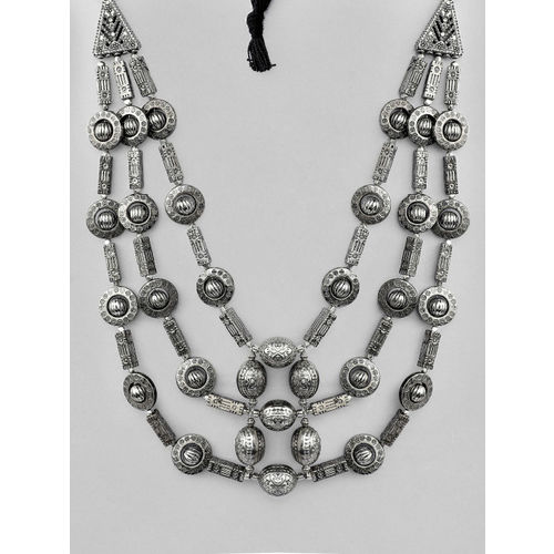 Rubans Silver Plated Oxidised Multi Layer Necklace