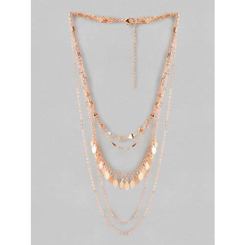 Rubans Rose Gold Plated Multi Layer Necklace