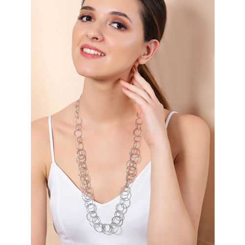 Rubans Silver Plated Handcrafted Inter linked Necklace