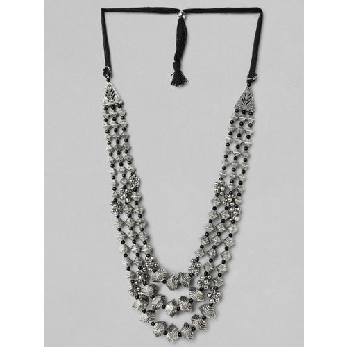 Rubans Silver Plated Oxidised Handcrafted Multi Layer Boho Necklace