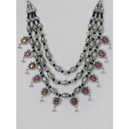 Rubans Silver Plated Oxidised Baho Necklace