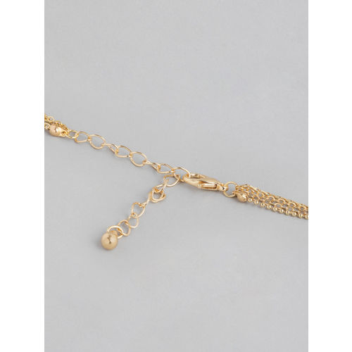 20Dresses Gold-Toned && White Stone Studded Minimal Layered Necklace