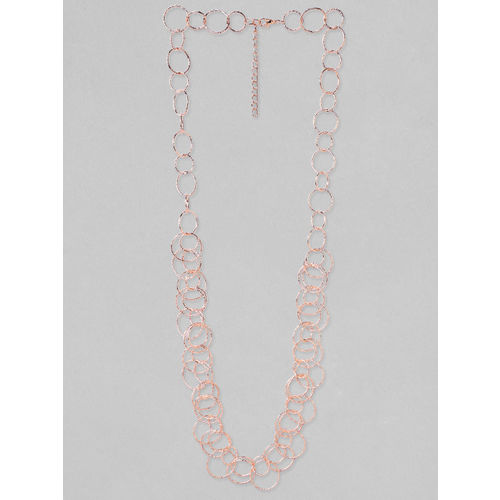 Rubans Rose Gold Plated Handcrafted Inter linked Long Necklace