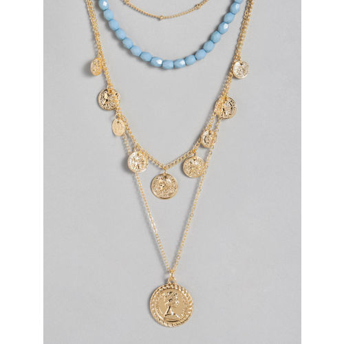 20Dresses Women Blue & Gold-Toned Beaded Layered Necklace