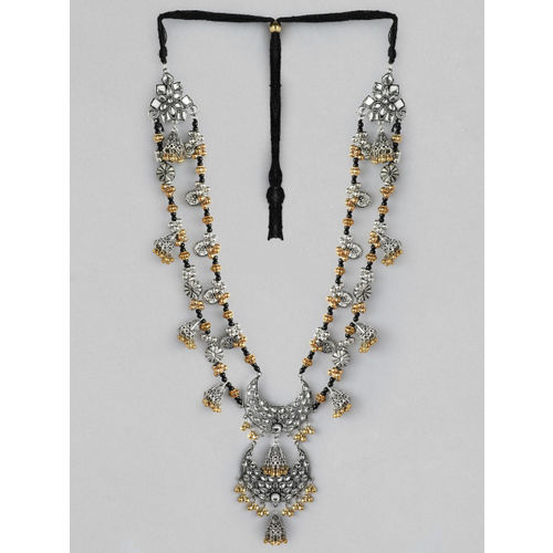 Rubans Silver Plated Oxidised Dual Tone Multi Layer Necklace