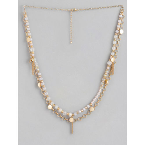 20Dresses Gold-Toned & Pink Layered Beaded Necklace