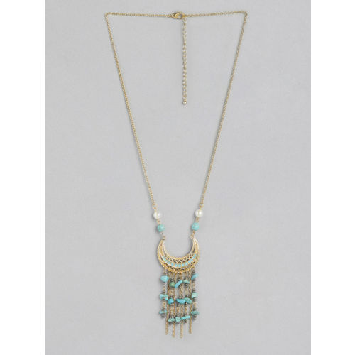 20Dresses Women Gold-Toned & Turquoise Blue Stone-Studded Crescent Tasselled Necklace