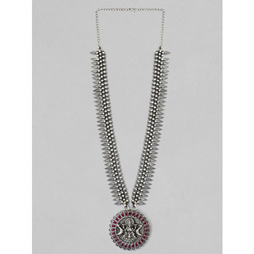 Rubans Silver-Plated Oxidised Handcrafted Necklace
