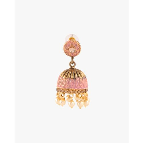 ZAVERI PEARLS Antique Traditional Jhumki Earrings -ZPFK8962