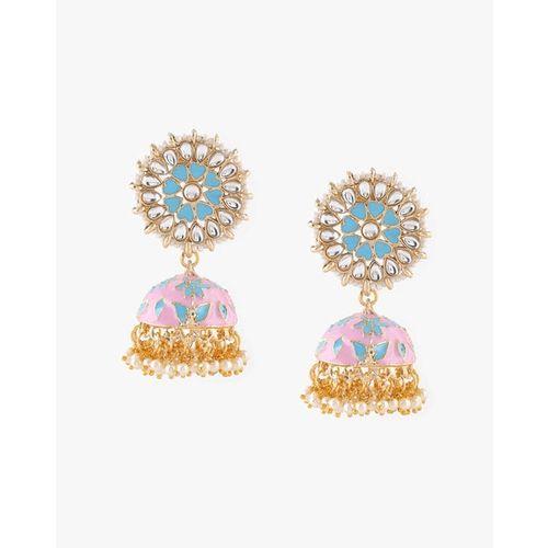 ZAVERI PEARLS Beautifully Enamelled Traditional Jhumki Earrings - ZPFK8992