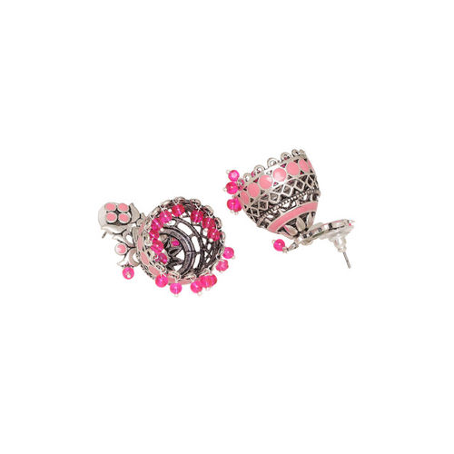 Voylla Oxidised Silver-Plated & Pink Dome Shaped Jhumkas