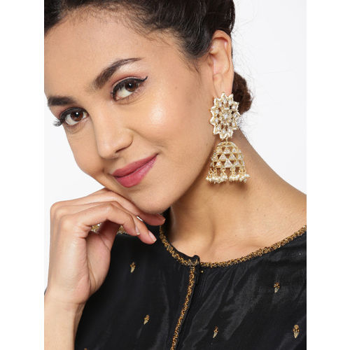 Melani Borsa Off-White Gold-Plated Handcrafted AD Stone Studded Beaded Dome Shaped Jhumkas