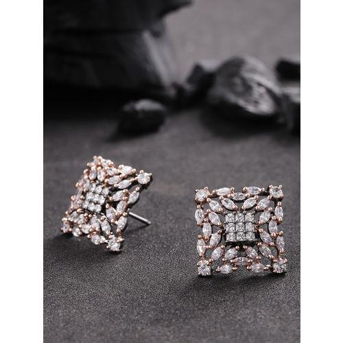 Priyaasi Gunmetal-Toned Gold-Plated American Diamond Oversized Studs